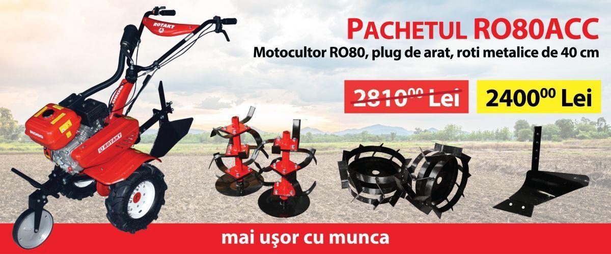 PACHETUL RO80ACC - MOTOCULTOR RO80, 7 CP, PLUG ARAT, ROTI METALICE