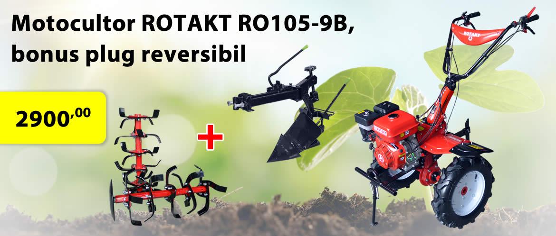Oferte motocultor Rotakt RO105-9B, bonus plug reversibil