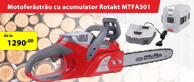 Motofierastrau cu acumulator ROTAKT MTFA501, acumulator LI-ION 58 V, 4 AH