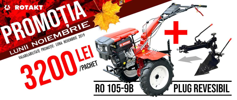 PACHET MOTOCULTOR ROTAKT RO105S-9B, 9 CP SI PLUG DE ARAT REVERSIBIL