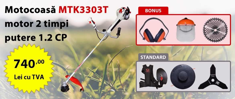 Motocoasa de umar Rotakt MTK3303T, motor 2 timpi, 1.2 CP, BONUS: Disc Vidia 255 mm, Antifoane externe, Viziera protectie