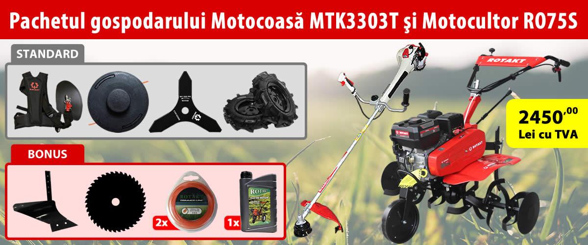 PACHETUL GOSPODARULUI: MOTOCULTOR ROTAKT RO75S, 7 CP SI MOTOCOASA ROTAKT MTK3303T, 1.2 CP